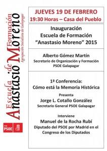 """PSOE Galapagar inaugura su """"Escuela de Formación Anastasio Moreno 2015"""""""