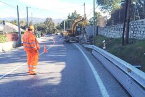Trabajos para construir una senda peatonal entre Galapagar y Colmenarejo