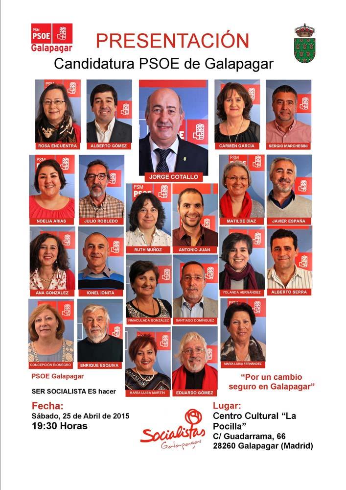 Candidatura del PSOE de Galapagar para las municipales de mayo 2015