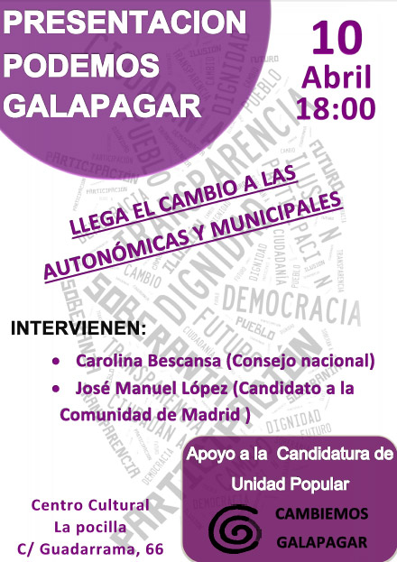 Podemos Galapagar realizará un acto este viernes en La Pocilla