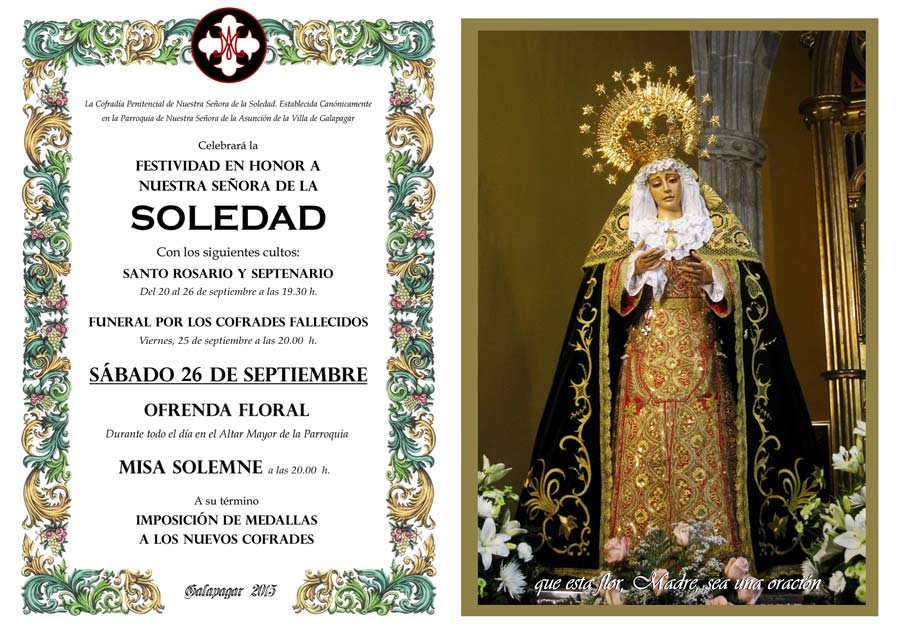 Celebraciones en honor de Nuestra Señora de la Soledad en Galapagar