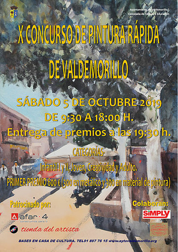 Cartel del 10º Concurso de Pintura Rápida de Valdemorillo, sábado 5 de octubre 2019
