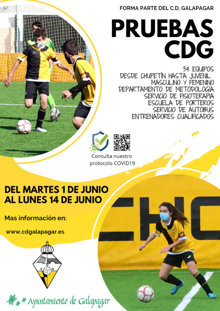 Cartel convocando a las pruebas de fútbol del Club Deportivo Galapagar para 2021-2022