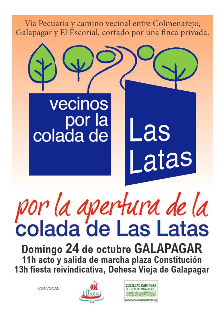 Vecinos por la apertura de la Colada de Las Latas - 24 octubre 11 horas, acto y salida desde Plaza Constitución hasta Dehesa Vieja de Galapagar. Organizan Itaka y Sociedad Caminera